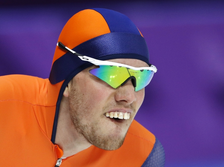 Patrick Roest of The Netherlands catches his breath after the men's 1,500 meters speedskating race at the Gangneung Oval at the 2018 Winter Olympics in Gangneung, South Korea, Tuesday, Feb. 13, 2018. (AP Photo/John Locher)
