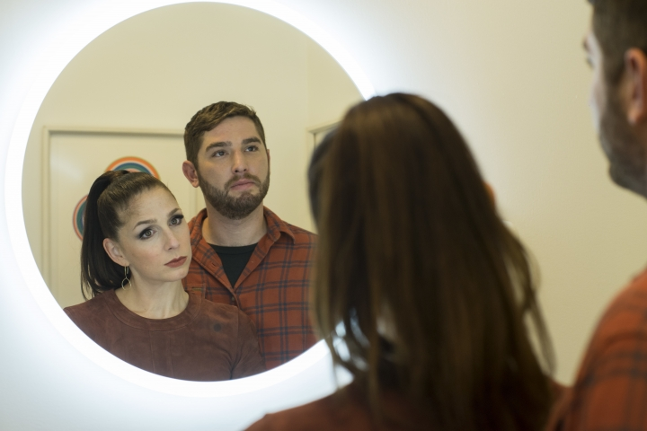 "This image released by Sundance Now shows Shoshannah Stern, left, and Josh Feldman in a scene from ""This Close,"" a series premiering Feb. 14 on Sundance Now. (Gunther Campine/Sundance Now via AP)"