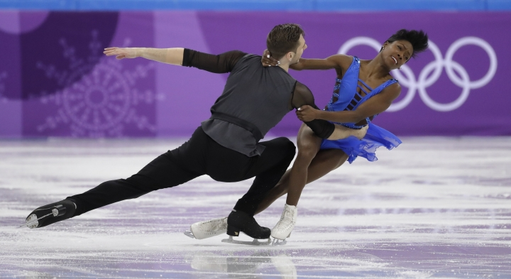 Vanessa James and Morgan Cipres of France perform in the pair skating short program team event at the 2018 Winter Olympics in Gangneung, South Korea, Friday, Feb. 9, 2018. (AP Photo/Bernat Armangue)