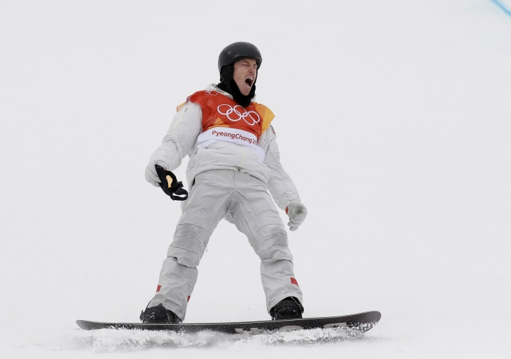 Shaun White, of the United States, celebrates his gold winning run during the men's halfpipe finals at Phoenix Snow Park at the 2018 Winter Olympics in Pyeongchang, South Korea, Wednesday, Feb. 14, 2018. (AP Photo/Gregory Bull)