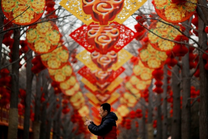 FILE PHOTO: A man takes pictures of trees decorated for Spring Festival ahead of the Chinese Lunar New Year at Ditan Park in Beijing, China February 11, 2018. REUTERS/Thomas Peter/File Photo