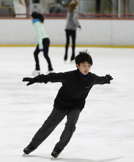 Keita Horiko, the 10-year-old U.S. Figure Skating juvenile boys champion, works up speed during a practice session, his second of the day, at the Ice House, Thursday, Feb. 8, 2018, in Hackensack, N.J. (AP Photo/Kathy Willens)