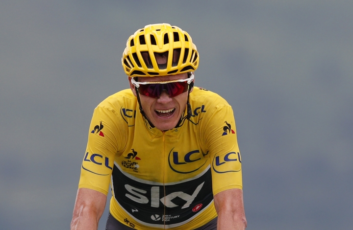 "FILE - In this Thursday, July 13, 2017 file photo, Britain's Chris Froome, wearing the overall leader's yellow jersey crosses the finish line during the twelfth stage of the Tour de France cycling race over 214.5 kilometers (133.3 miles) with start in Pau and finish in Peyragudes, France. Chris Froome returned to racing on Wednesday, Feb. 14, 2018 despite being under investigation by cycling's world governing body for failing a doping test. Froome is participating in the five-day Ruta del Sol in southern Spain, an event he won in 2015. ""I know I have done nothing wrong, that's my starting point,"" Froome said. ""There is a process in place for me to be up to demonstrate that, and that's obviously what I intend to do."" (AP Photo/Christophe Ena, File)"