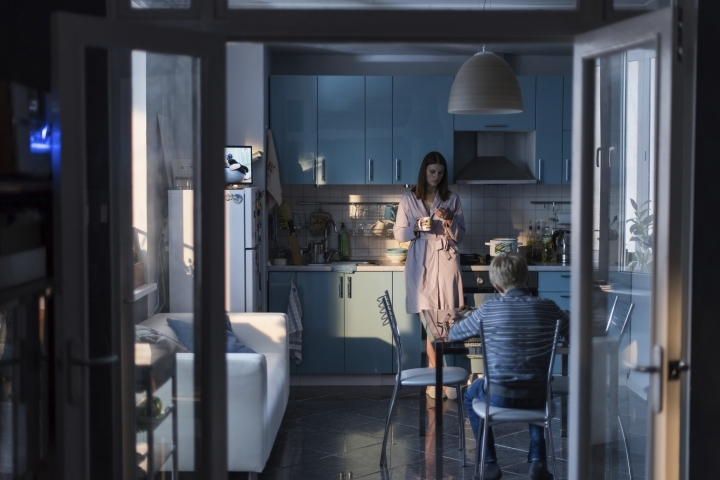 "This image released by Sony Pictures Classics shows Maryana Spivak, background, and Matvey Novikov in a scene from ""Loveless."" (Sony Pictures Classics via AP)"