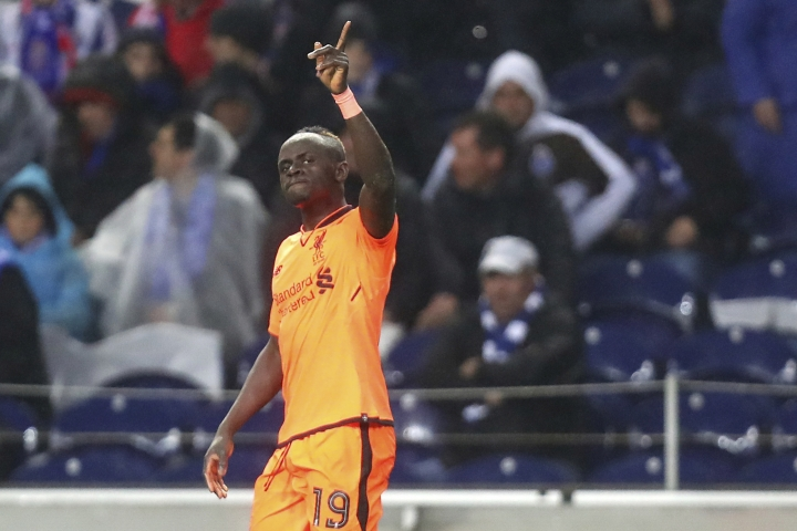 Liverpool's Sadio Mane celebrates after scoring his side's fifth goal during the Champions League round of sixteen first leg soccer match between FC Porto and Liverpool FC at the Dragao stadium in Porto, Portugal, Wednesday, Feb. 14, 2018. (AP Photo/Luis Vieira)