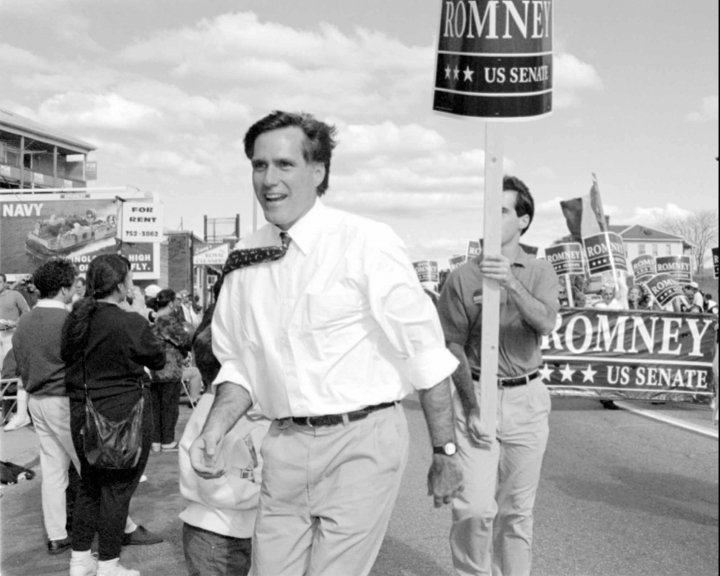 FILE- In this Oct. 10, 1994, file photo, Republican U.S. Senatorial candidate Mitt Romney greets supporters at the Columbus Day parade in Worcester, Mass. Romney's run for U.S. Senate in Utah is his latest bid for public office since he first jumped into politics more than 20 years ago. (AP Photo/C.J. Gunther, File)