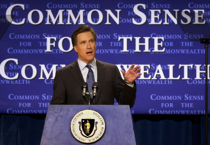 FILE - In this Feb. 25, 2003, file photo, Massachusetts Gov. Mitt Romney delivers his State of the State address in Boston. Romney's run for U.S. Senate in Utah is his latest bid for public office since he first jumped into politics more than 20 years ago. (AP Photo/Elise Amendola, File)