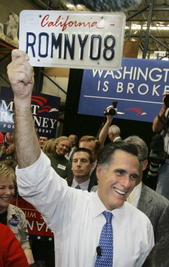 FILE - In this Jan. 31, 2008, file photo, Republican presidential hopeful, former Massachusetts Gov. Mitt Romney, campaigns at Bassett Furniture in Fountain Valley, Calif. Romney's announcement Thursday, Feb. 15, 2018, of a run for U.S. Senate seat in Utah is his latest bid for public office since he first jumped into politics more than 20 years ago. (AP Photo/LM Otero, File)