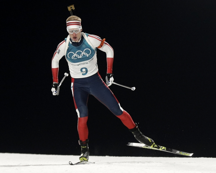 Johannes Thingnes Boe, of Norway, skies during the men's 20-kilometer individual biathlon at the 2018 Winter Olympics in Pyeongchang, South Korea, Thursday, Feb. 15, 2018. (AP Photo/Gregorio Borgia)