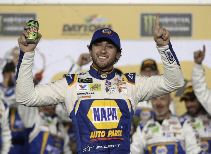 Chase Elliott celebrates in Victory Lane after winning the second of two qualifying races for the NASCAR Daytona 500 auto race at Daytona International Speedway in Daytona Beach, Fla., Thursday, Feb. 15, 2018. (AP Photo/Chuck Burton)