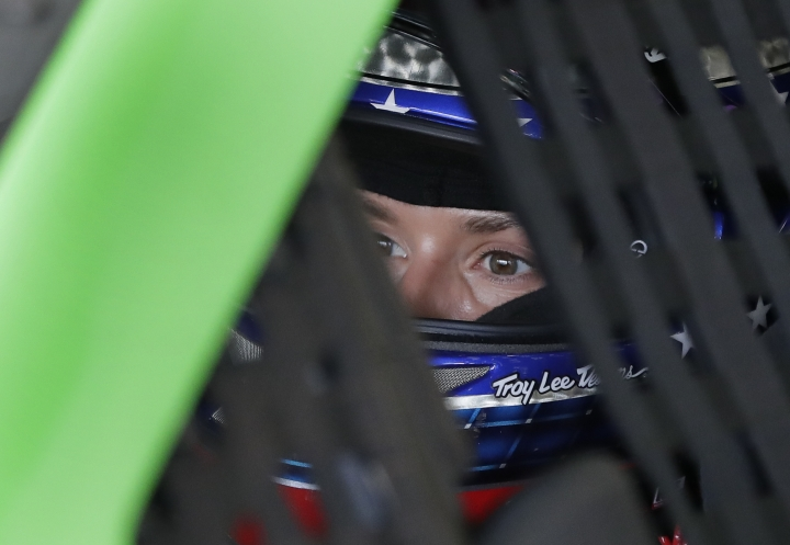 Danica Patrick waits to go out on the track during a practice session for the NASCAR Daytona 500 auto race at Daytona International Speedway, Friday, Feb. 16, 2018, in Daytona Beach, Fla. (AP Photo/John Raoux)