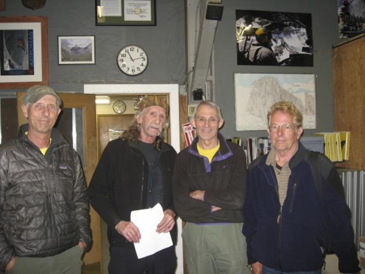 This undated photo provided by Ron Gomez shows early founders of the Yosemite Search and Rescue (YOSAR), Werner Braun, from left, Jim Bridwell, John Dill and Tom Cochran in Yosemite National Park, Calif. Bridwell, a hard-partying hippie and legendary climber who lived his life vertically on some of the toughest peaks in Yosemite National Park, has died at age 73. Bridwell died Friday, Feb. 16, 2018, at a hospital. He had liver and kidney failure from hepatitis C that he may have contracted in the 1980s when he got a tattoo from a headhunting tribe in Borneo, his wife, Peggy Bridwell of Palm Desert, told The Associated Press on Saturday. (Ron Gomez via AP)