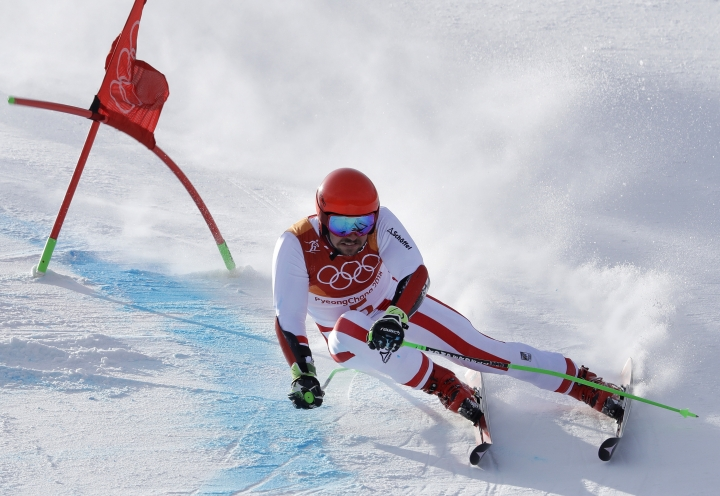 Austria's Marcel Hirscher competes during the first run of the men's giant slalom at the 2018 Winter Olympics in Pyeongchang, South Korea, Sunday, Feb. 18, 2018. (AP Photo/Luca Bruno)
