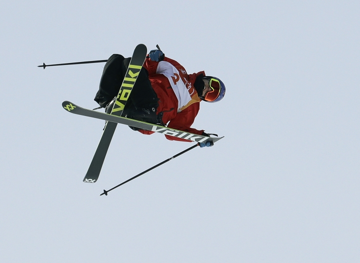 Oystein Braaten, of Norway, jumps during the men's slopestyle qualifying at Phoenix Snow Park at the 2018 Winter Olympics in Pyeongchang, South Korea, Sunday, Feb. 18, 2018. (AP Photo/Lee Jin-man)