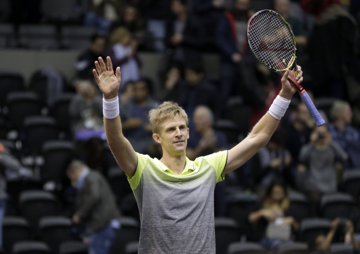 Kevin Anderson, of South Africa, reacts after winning his finals match against Sam Querrey, of the United States, at the New York Open tennis tournament in Uniondale, N.Y., Sunday, Feb. 18, 2018. Anderson defeated Querrey in a tie-breaker to win the tournament. (AP Photo/Seth Wenig)