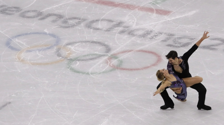 Madison Hubbell and Zachary Donohue of the United States perform during the ice dance, short dance figure skating in the Gangneung Ice Arena at the 2018 Winter Olympics in Gangneung, South Korea, Monday, Feb. 19, 2018. (AP Photo/Morry Gash)