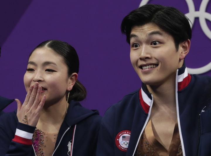 Maia Shibutani and Alex Shibutani of the United States react as their points are posted following their performance in the ice dance, short dance figure skating in the Gangneung Ice Arena at the 2018 Winter Olympics in Gangneung, South Korea, Monday, Feb. 19, 2018. (AP Photo/Julie Jacobson)