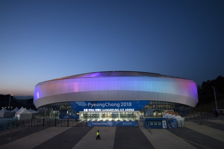 FILE - In this Feb. 6, 2018 file photo, The Gangneung Ice Arena is illuminated at night prior to the 2018 Winter Olympics in Gangneung, South Korea. With the looming close of the games this weekend there's worry here that the Olympics will instead saddle the region with a legacy of massive debt and the perpetual maintenance of a handful of hugely expensive venues that no one knows what to do with. (AP Photo/Felipe Dana, File)