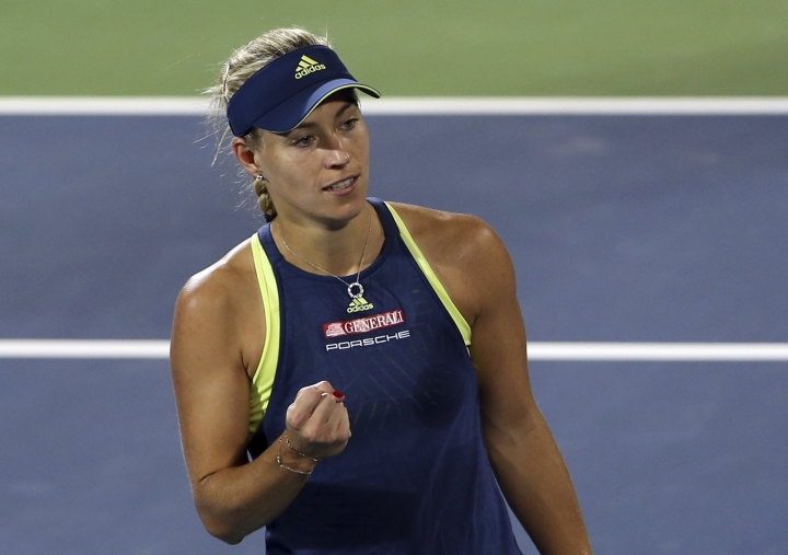 Angelique Kerber of Germany reacts after she got a point against Barbora Strycova of Czech Republic during the Dubai Duty Free Tennis Championship in Dubai, United Arab Emirates, Tuesday, Feb. 20, 2018. (AP Photo/Kamran Jebreili)