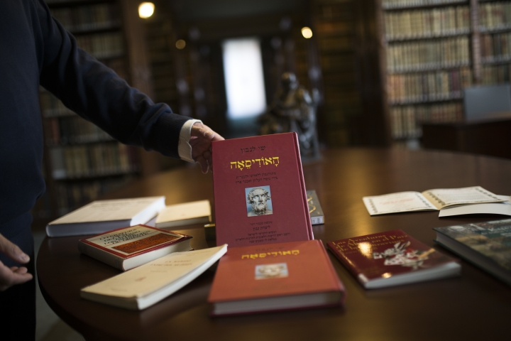 Books written on and about the Ladino or Judeo-Spanish language are set up for a photograph at the library of the Royal Spanish Academy in Madrid, Tuesday, Feb. 20 , 2018. More than five centuries after their ancestors were kicked out of Spain, Sephardic Jews are closer to being granted an academic body to oversee and protect the Ladino or Judeo-Spanish, a language with the sounds of a medieval Spanish that has been passed on almost intact for generations. (AP Photo/Francisco Seco)
