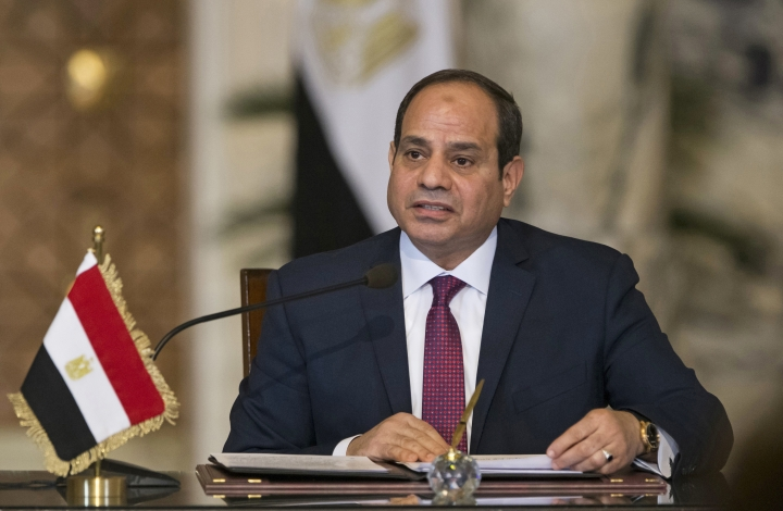 "FILE - In this Dec. 11, 2017, file photo, Egyptian President Abdel-Fattah el-Sissi, speaks during a news conference in Cairo, Egypt. El-Sissi said Wednesday, Feb. 21, 2018, Egypt ""scored a goal"" by signing a $15 billion deal with an Israeli company to supply natural gas that will help turn Egypt into a regional energy hub, the first high-level comments on the deal that fueled controversy on social media. He said in televised comments that the project ""has a lot of advantages for us (Egyptians). (AP Photo/Alexander Zemlianichenko, Pool, File)"
