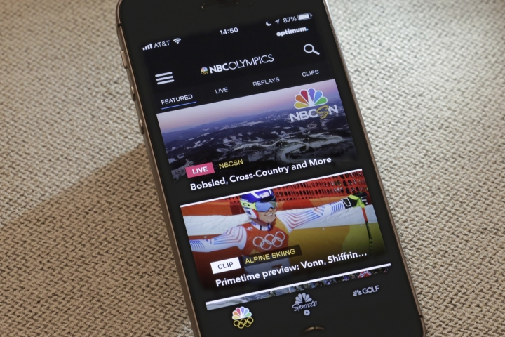 The NBC Sports app, featuring the 2018 Winter Olympics, is shown in this photo in New York, Wednesday, Feb. 21, 2018. When it comes to the Olympics, too much choice can paralyze you with indecision. NBC's app allows you to customize phone notifications by sport or selected athletes. (AP Photo/Richard Drew)