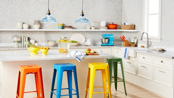 This undated artist rending provided by Walmart shows their colorful kitchen, which is part of Walmart's new online home shopping experience that will let shoppers discover items based on their style. The move, announced Thursday, Feb. 22, 2018, is the first glimpse of Walmart's broader efforts to redesign its site with a focus on fashion and home furnishing. (Walmart via AP)