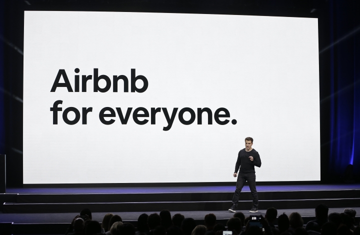 Airbnb co-founder and CEO Brian Chesky speaks during an event Thursday, Feb. 22, 2018, in San Francisco. Airbnb is dispatching inspectors to rate a new category of properties listed on its home-rental service in an effort to reassure travelers they're booking nice places to stay. The Plus program, unveiled Thursday, initially will only cover about 2,000 homes in 13 cities. That's a small fraction of the roughly 4.5 million rentals listed on Airbnb in 81,000 of cities throughout the world. (AP Photo/Eric Risberg)