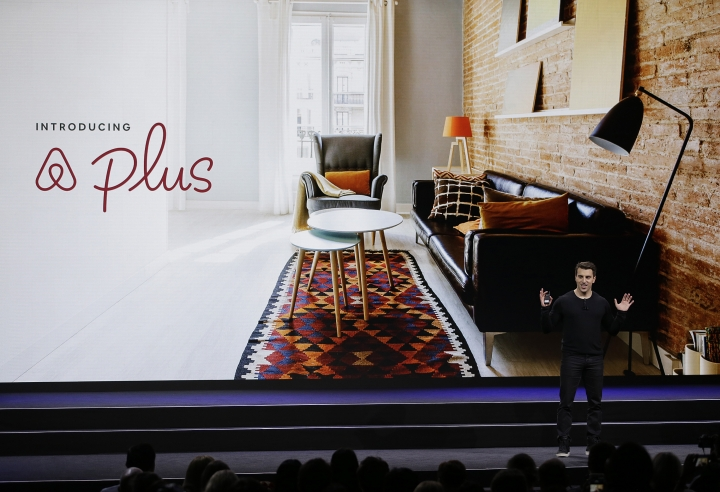 Airbnb co-founder and CEO Brian Chesky talks about a new Plus program during an event Thursday, Feb. 22, 2018, in San Francisco. Airbnb is dispatching inspectors to rate a new category of properties listed on its home-rental service in an effort to reassure travelers they're booking nice places to stay. The program is aimed at winning over travelers who aren't sure they can trust the computer-driven system that Airbnb uses to assess the quality of rentals. (AP Photo/Eric Risberg)