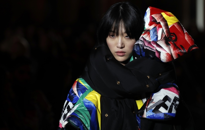 A model wears a creation as part of the Versace women's Fall/Winter 2018-2019 collection, presented during the Milan Fashion Week, in Milan, Italy, Friday, Feb. 23, 2018. (AP Photo/Antonio Calanni)