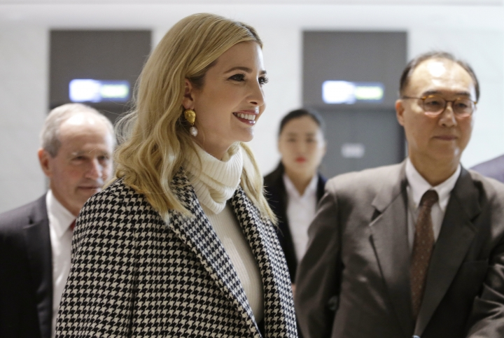 Ivanka Trump, the daughter of U.S. President Donald Trump, arrives at Incheon International Airport in Incheon, South Korea, Friday, Feb. 23, 2018. Ivanka Trump has landed in South Korea to attend this weekend's closing ceremony for the Winter Olympics in Pyeongchang. (AP Photo/Ahn Young-joon, Pool)