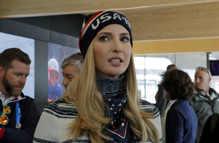 Ivanka Trump, daughter of U.S. President Donald Trump and senior White House adviser, visits USA House during the 2018 Winter Olympics on Saturday, Feb. 24, 2018, in Pyeongchang, South Korea. (Eric Gaillard/Pool Photo via AP)
