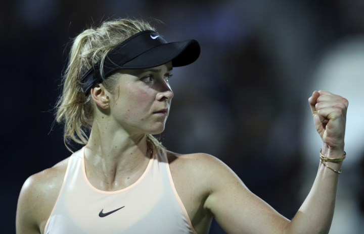 Elina Svitolina of Ukraine reacts after she got a point against Daria Kasatkina of Russia at the final match of the Dubai Duty Free Tennis Championship in Dubai, United Arab Emirates, Saturday, Feb. 24, 2018. (AP Photo/Kamran Jebreili)