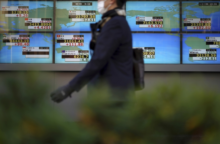 FILE- In this Jan. 10, 2018 file photo, a man walks past an electronic stock board showing Japan's Nikkei 225 index and other country's index at a securities firm in Tokyo. Asian stocks rose Monday, Feb. 26, 2018, after Wall Street rallied as investors looked ahead to the U.S. Federal Reserve chairman's congressional testimony this week for insights into its economic outlook. (AP Photo/Eugene Hoshiko, File)