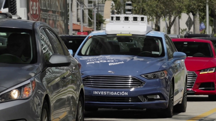 In this undated image made from a video provided by Ford Motor Co. a self-driving vehicle from Ford Motor Co. and Ford partner Argo AI drives in Miami, Fla. Ford is making Miami-Dade County its new test bed for self-driving vehicles. (Ford Motor Co. via AP)