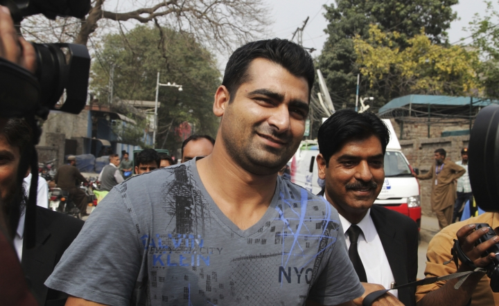 FILE - In this March 21, 2017 file photo, Pakistani cricketer Shahzaib Hasan leaves the office of the Federal Investigation Authority in Lahore, Pakistan. The Pakistan Cricket Board's anti-corruption tribunal has banned batsman Hasan for one year and fined him 1 million rupees (US$9,020) after a spot-fixing scandal broke out in the second edition of Pakistan Super League (PSL) last year. Hasan is the fifth cricketer banned by the PCB in the scandal. (AP Photo/K.M. Chaudary)