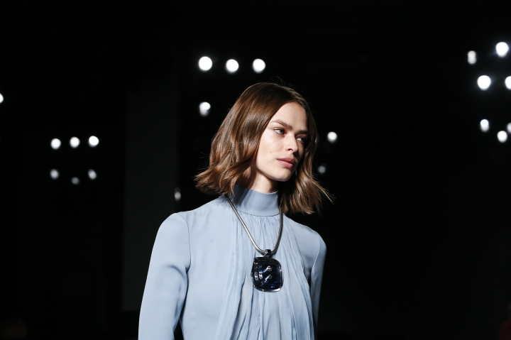 A model wears a creation for Lanvin's ready-to-wear fall/winter 2018/2019 fashion collection presented in Paris, Wednesday, Feb. 28, 2018. (AP Photo/Kamil Zihnioglu)