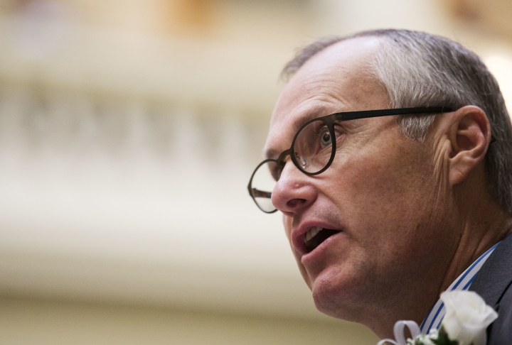 FILE - In this Jan. 11, 2016, file photo, Georgia Lt. Gov. Casey Cagle speaks during a memorial ceremony on the first day of the legislative session at the state Capitol in Atlanta. Cagle on Monday, Feb. 26, 2018, threatened to prevent Delta Air Lines from getting a lucrative tax cut after the company ended its discount program with the National Rifle Association. Cagle, president of the state Senate and a leading candidate to succeed Gov. Nathan Deal, tweeted that he would use his position to kill a proposed sales tax exemption on jet fuel. (AP Photo/David Goldman, File)