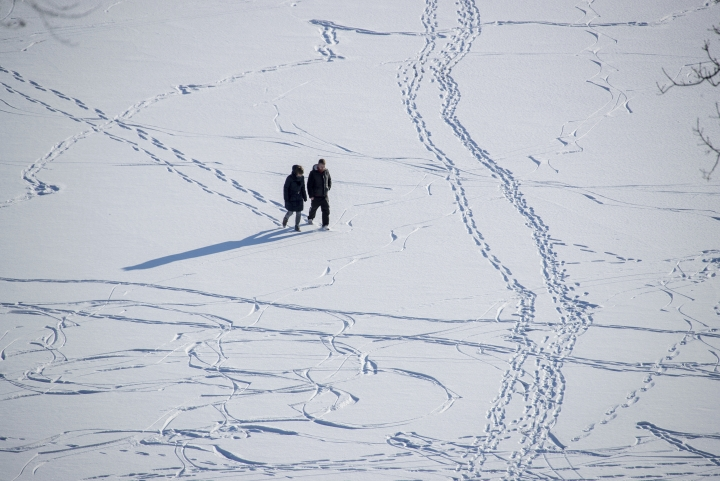 Strollers walk through the snow near Feldberg, eastern Germany Thursday, March 1, 2018. Central Europe has been hit by unusually freezing weather in recent days. (Jens Buettner/dpa via AP)