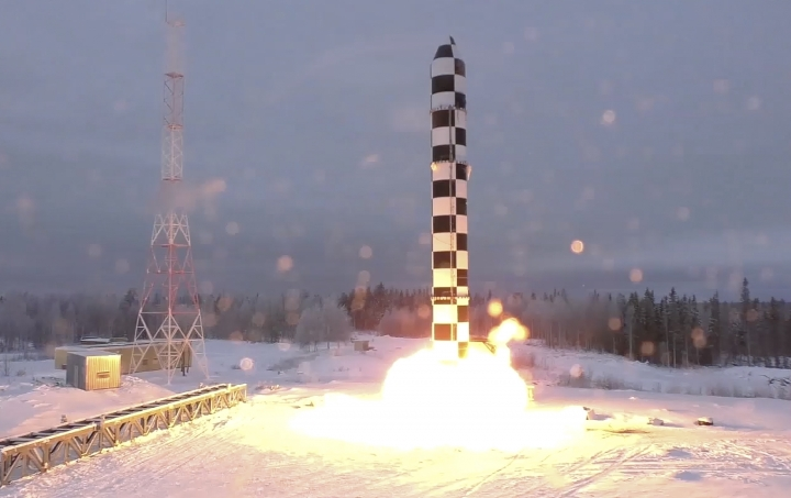 In this video grab provided by RU-RTR Russian television via AP television on Thursday, March 1, 2018, Russia's new Sarmat intercontinental ballistic missile blasts off during a test launch from an undisclosed location in Russia. President Vladimir Putin declared Thursday that Russia has developed a range of new nuclear weapons, claiming they can't be intercepted by enemy. (RU-RTR Russian Television via AP)