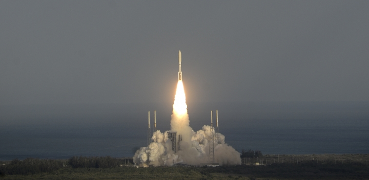 A United Launch Alliance Atlas V rocket lifts off from Cape Canaveral Air Force Station Thursday, March 1, 2018. The rocket is carrying the GOES-S weather satellite. (Craig Bailey /Florida Today via AP)