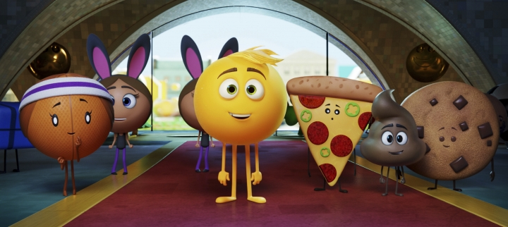 "FILE - This file image released by Sony Pictures shows Gene, voiced by T.J. Miller, center, in Columbia Pictures and Sony Pictures Animation's ""The Emoji Movie."" ""The Emoji Movie"" has received Hollywood's most famous frown, the Razzie Award, for worst picture of 2017. (Sony Pictures Animation via AP, File)"