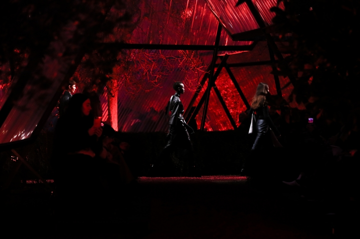 A model wears a creation for Hermes's ready-to-wear fall/winter 2018/2019 fashion collection presented in Paris, Saturday, March 3, 2018. (AP Photo/Kamil Zihnioglu)