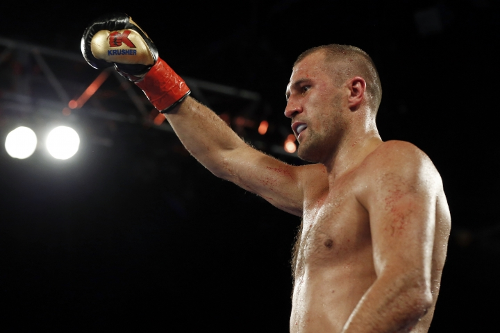 Sergey Kovalev, of Russia, celebrates after defeating Igor Mikhalkin, of Russia, in the seventh round of a WBO light heavyweight title boxing match Saturday, March 3, 2018, in New York. (AP Photo/Adam Hunger)
