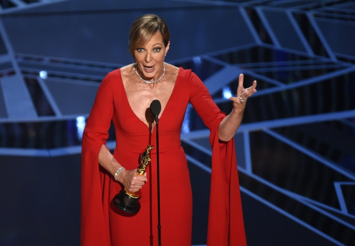 "Allison Janney accepts the award for best performance by an actress in a supporting role for ""I, Tonya"" at the Oscars on Sunday, March 4, 2018, at the Dolby Theatre in Los Angeles. (Photo by Chris Pizzello/Invision/AP)"