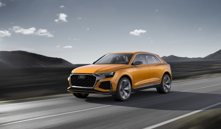 The undated image provided via the Audi MediaCenter shows Audi Q8 sport concept. Global automakers are rolling out more production-ready electric vehicles at the Geneva International Motor Show as they try to challenge Tesla and get ahead of looming disruptive shifts in transportation toward lower-emission and autonomous vehicles. The carmakers will show off their wares during press days Monday evening through Wednesday; the show opens to the public on Thursday and runs through March 18. (Audi via AP)