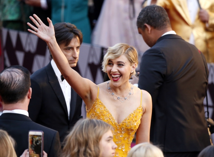 Greta Gerwig arrives at the Oscars on Sunday, March 4, 2018, at the Dolby Theatre in Los Angeles. (Photo by Eric Jamison/Invision/AP)