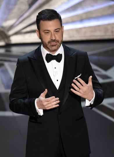 Host Jimmy Kimmel speaks at the Oscars on Sunday, March 4, 2018, at the Dolby Theatre in Los Angeles. (Photo by Chris Pizzello/Invision/AP)