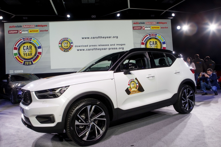 "The Volvo XC40 model was elected ""Car of the Year 2018"", ahead of the 88th Geneva International Motor Show, at the Palexpo, in Geneva, Switzerland, Monday, March 5, 2018. (Salvatore Di Nolfi/Keystone via AP)"