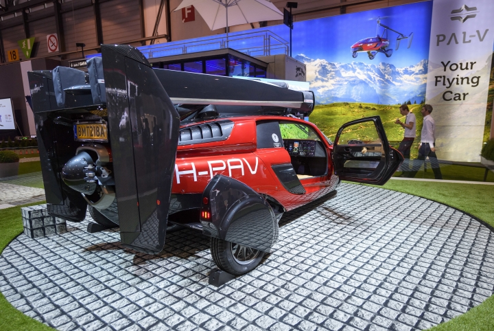The New PAL-V Liberty a car that flies, a plane that drives is presented during the press day at the 88th Geneva International Motor Show in Geneva, Switzerland, Tuesday, March 6, 2018. (Martial Trezzini/Keystone via AP)